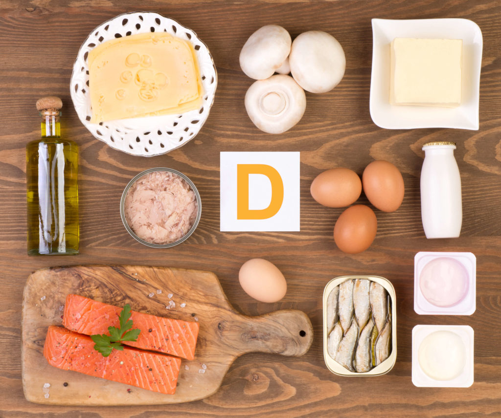 Dietary sources of Vitamin D include cheese, tuna, salmon, eggs, sardines yogurt, mushrooms, butter and fortified milk